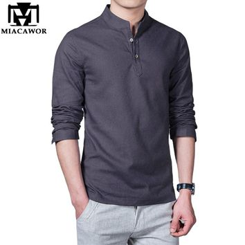 Plus Size 5XL 2018 New Cotton Linen Men Shirt  Casual Long-Sleeve Male Shirt  Slim Fit Chemise Homme Camisa Masculina MC264