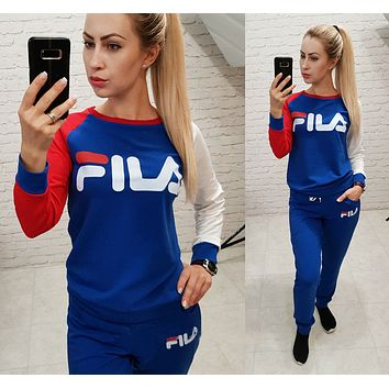 FILA Newest Popular Women Casual Print Long Sleeve Top Pants Set Two-Piece Sportswear Blue