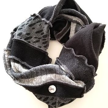Dark Grey & Black Patchwork Scarf