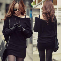 Trendy Womens Knitting Mini Dress Knit Tops Jumpers Sweaters Batwing