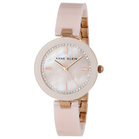 Anne Klein 1314RGLP Women's Crystal MOP Dial Rose Gold Steel Pink Ceramic Bangle Bracelet Watch