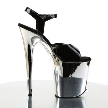 "809 Ankle Strap Silver Chrome Platform Black Patent 8"" Heels Shoes"