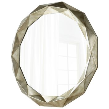 Sweet Harbor Contemporary Round Burnished Silver Framed Wall Mirror by Cyan Design