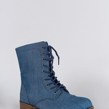 Bamboo Denim Round Toe Lace Up Lug Sole Combat Ankle Boots
