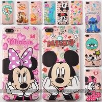 Coque for Samsung Galaxy S6 S7 Edge Case Transparent TPU Cover Mickey Minnie Mouse Caso Fundas Capa for iPhone SE 5 5S 6S 6 Plus
