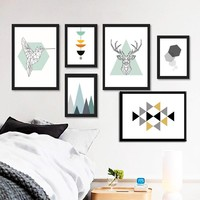Abstract Geometry Figure Animals Canvas - Free Shipping