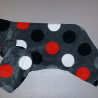 Woofy Dots dog pajama. Size small. Machine washable. Open underneath for potty and #2 breaks