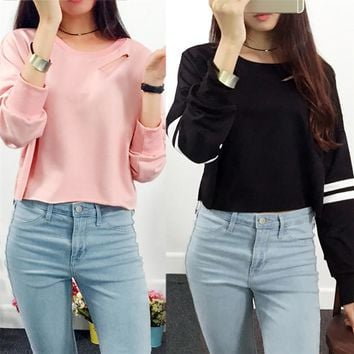 New Style Women Girl Hollow Out Short Sweatshirt Long Sleeve Crop Jumper Pullover Tops Sexy Fashion Hot Sales Blouse Wolovey#30