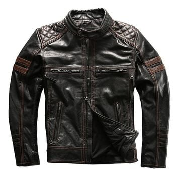 mans genuine cow leather jacket for harley motorcycle jacket slim motorcycle cowhide skin leather coat