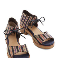 BC Footwear Boho Friendly Footwork Heel in Woven Rainbow