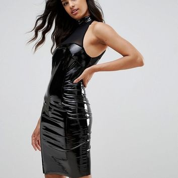 NaaNaa Bodycon Dress With Mesh Detail In PVC at asos.com