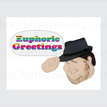 Euphoric Fedora Printable Atheist Greetings Card