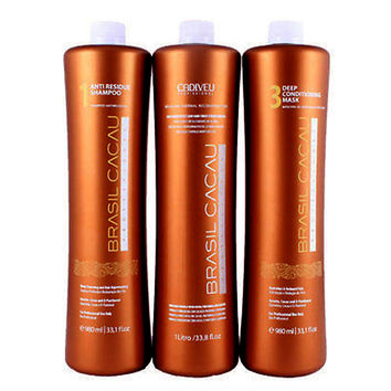 BRAZILIAN KERATIN TREATMENT  BRASIL CACAU 3 STEPS 3 X 750ml KIT. FRACTIONAL SALE.