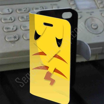 Pokemon Pikachu Yellow PVC (syntetic) Leather Folio Case for iPhone and Samsung Galaxy