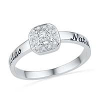 Diamond Accent Octagonal Frame Promise Ring in Sterling Silver (2 Names)
