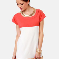 Flying Tri-Colors Coral Color Block Dress