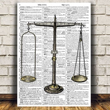 Scales decor Antique poster Dictionary print Vintage print RTA1175
