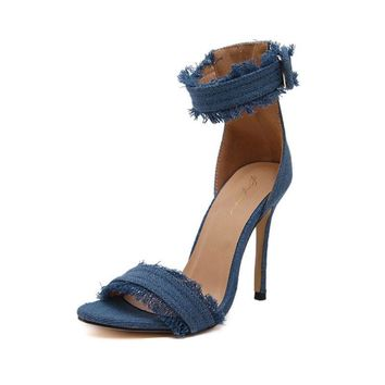 Denim Fashion High Heel Sandals