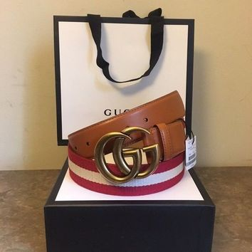 58b0df596f7 DCCK Gucci Men s Red Tan Red Nylon Web Belt With Double G Buckle