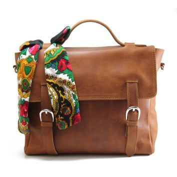 leather messenger bag -satchel bag - russian node