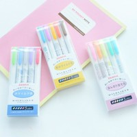 Zebra MildLiner Highlighter Marker Double-Sided Round Toe/Oblique WKT7 3/5 Colors Absorted Office and School Supply