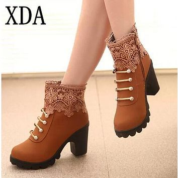 XDA 2016 New Autumn Winter Women Boots High Quality Solid Lace-up European Ladies PU Leather Fashion Boots Free Shipping A633