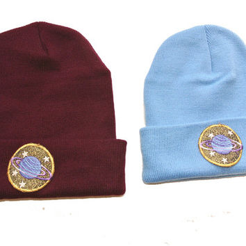 Saturn Planet Hipster Hand Patched Beanie