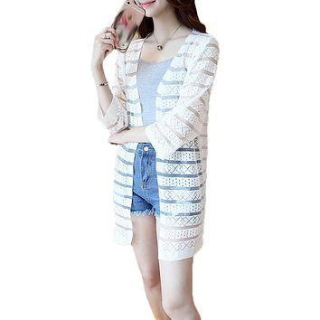 15 Colors Women Casual Striped Crochet Summer Hollow Out Spring Knitted Cardigan Rebecas Mujer Ladies Beach Cardigans Tops
