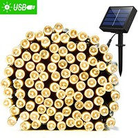 AMIR Solar Powered String Lights, 200 LED Copper Wire Lights, 72ft 8 Modes Starry Lights, Waterproof IP65 Fairy Christams Decorative Lights for Outdoor,Wedding, Homes, Party, Halloween ( White)