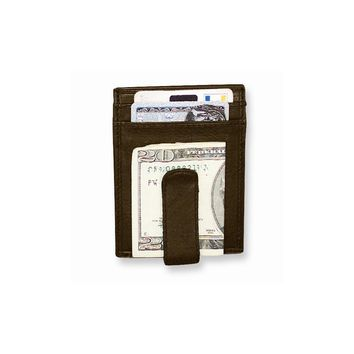 Brown/Black Leather Spring Clip Front Pocket Wallet