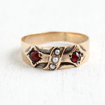 SALE- Antique Victorian 9k Rose Gold Seed Pearl & Simulated Garnet Ring- Size 4 3/4 Late 1800s Fine Jewelry Band