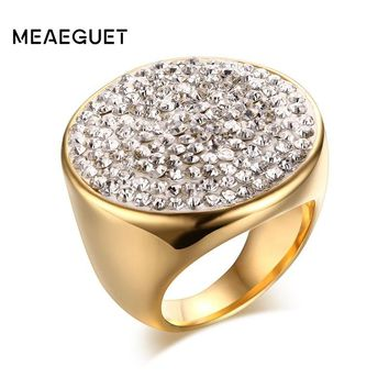 Meaeguet Gold-color Luxury Paved Crystal Engagement Ring For Women Stainless Steel Big Statement Ring Jewelry Bague Femme