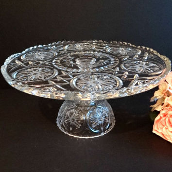 Vintage Kristal Zajecar Crystal Glass Cake Dessert Pedestal Stand Made in Yugoslavia, Formal Dining, Serving Plate, Wedding, Etsy Gifts