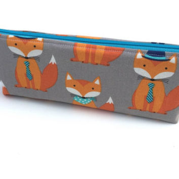 Zipper Pouch - Girls Pencil Case - Small Make-Up Pouch - Crayon Holder - Brush Holder - Pouch With Foxes