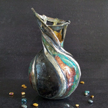 Raku turquoise and purple ceramic vase - artistic - liberty inspired