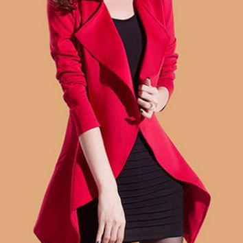 Red Long Sleeves Turn Down Collar Blazer (With Sundress)