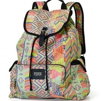 VICTORIA'S SECRET PINK AZTEC NEON SCHOOL BOOK BAG BACKPACK BOOKBAG TOTE NEW!