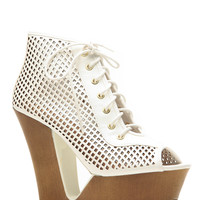 Bamboo White Cut Out Lace Up Peep Toe Wedges