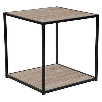 Midtown Collection Wood Grain Finish End Table with Metal Frame