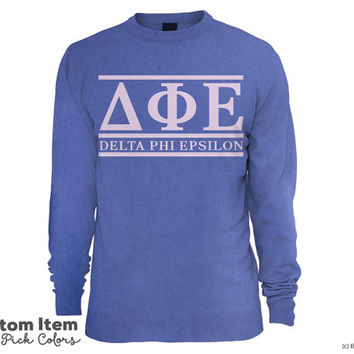 DPhiE Delta Phi Epsilon Custom Comfort Colors Classic Sorority Sweatshirt