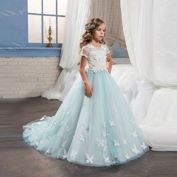 Pretty Flower Girl Dresses with Butterfly Lace Short Sleeve Ball Gown Kids Evening Gowns White and Light Blue Comunion Dress