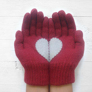 VALENTINE'S DAY Gift, Heart Gloves, Burgundy Gloves, Cherry Gloves, Gray, Grey, Special Gift, Gift For Her, Love, Romantic, Valentines Gift