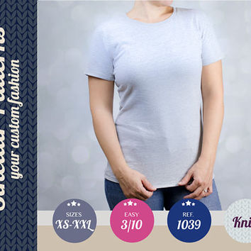 Knit t-shirt for women easy pdf sewing pattern sewing pattern with step by step sewing tutorial (easy/beginners) XS-XXL plus size