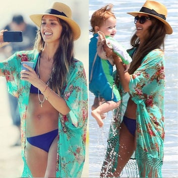 Summer Women Retro Floral Chiffon Bikini Cover Up Leisure Sexy Swimwear Beach Cover Up Bikini Dress Plus Size Dress