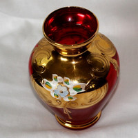 Vintage Bohemian Czech Glass Ruby Vase with Heavy Gilt and Hand Painted Enamel