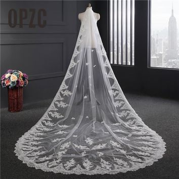 One Layer Lace Edge White Cathedral Wedding Veil Long Bridal Wedding Accessories