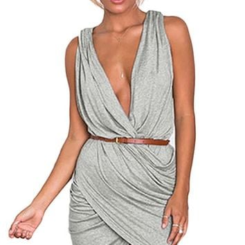 Grey Plunge Neck Pleated Wrap Mini Dress