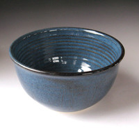 Ceramic Serving Bowl, Large Soup Bowl in Denim Blue - Handmade Pottery