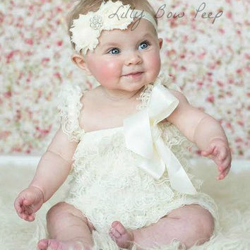 42afa7d6c Baby Girl Clothes-Ivory Lace Petti Romper SET-Baby Girl Outfi.