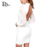 White Black Sexy Dress Women Halter Long Sleeve Patchwork Backless Bodycon Pencil Party Dress Sheath Vestidos S114